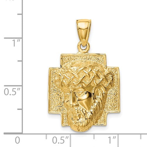 14k Yellow Gold Jesus Face Head Pendant Charm