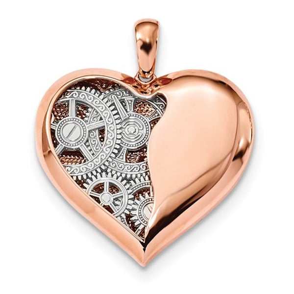 14k Rose Gold 14k White Gold Heart Reversible Pendant Charm