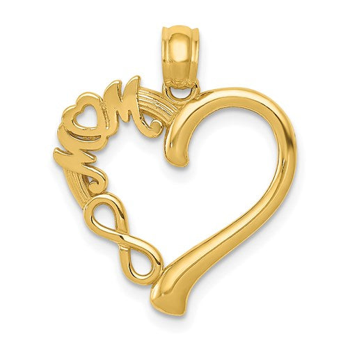 14K Yellow Gold Mom Heart Infinity Pendant Charm