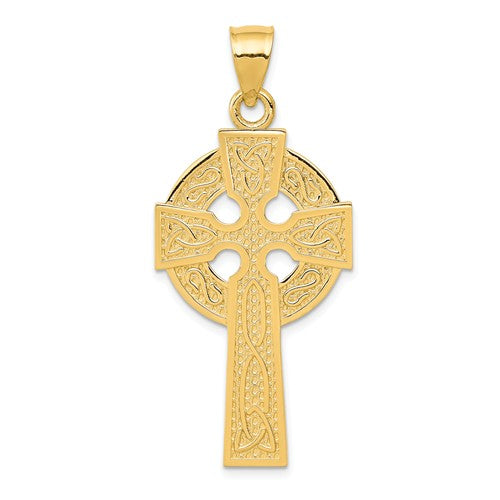 14k Yellow Gold Celtic Cross Trinity Knot Large Pendant Charm