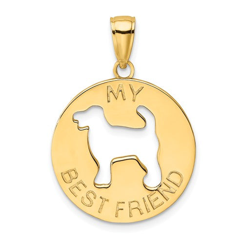 14k Yellow Gold My Best Friend Dog Puppy Cut Out Pendant Charm