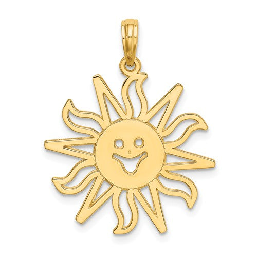 14k Yellow Gold Smiling Sun Celestial Cut Out Pendant Charm
