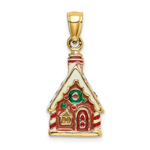 14k Yellow Gold Enamel Gingerbread House Holiday 3D Pendant Charm