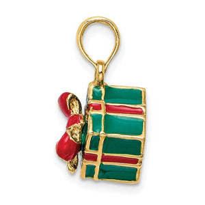 14k Yellow Gold Enamel Gift Box with Red Bow 3D Pendant Charm