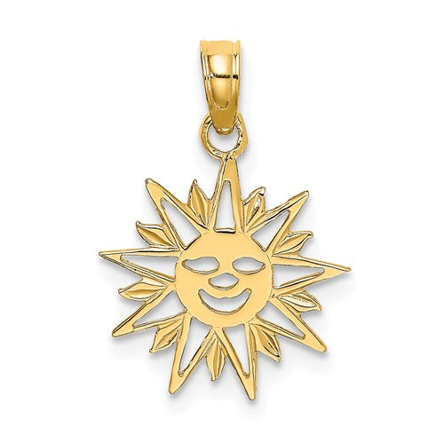 14k Yellow Gold Smiling Sun Celestial Small Pendant Charm