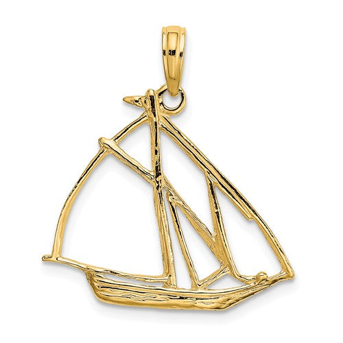 14k Yellow Gold Sailboat Sailing Cut Out Pendant Charm