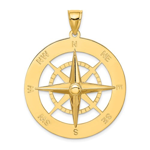 14k Yellow Gold Large Nautical Compass Medallion Pendant Charm