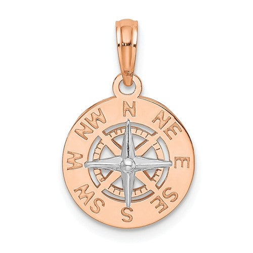 14k Rose White Gold Two Tone Nautical Compass Medallion Pendant Charm