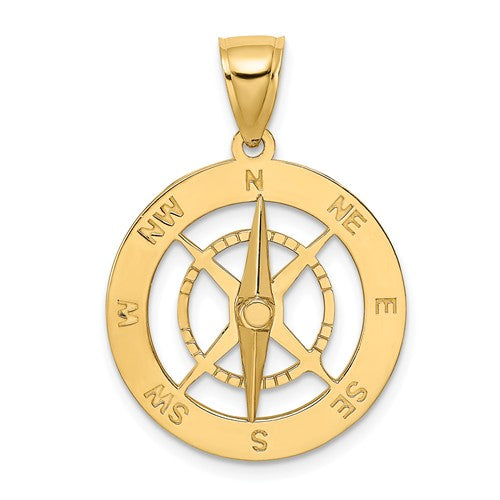 14k Yellow Gold Movable Nautical Compass Medallion Pendant Charm