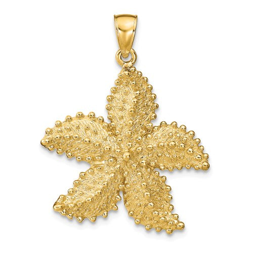 14k Yellow Gold Starfish Ocean Pendant Charm