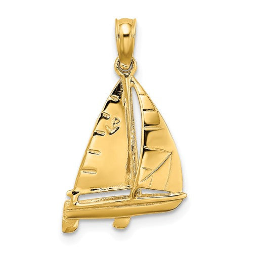 14k Yellow Gold Sailboat Sailing Nautical 3D Pendant Charm