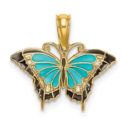 14k Yellow Gold with Enamel Blue Butterfly Small Pendant Charm