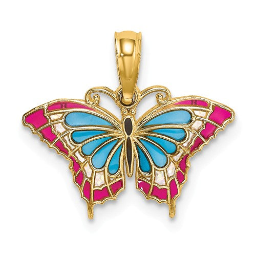 14k Yellow Gold with Enamel Colorful Butterfly Small Pendant Charm