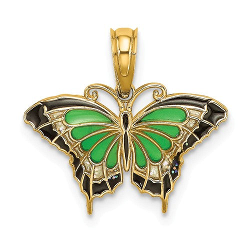 14k Yellow Gold with Enamel Butterfly Pendant Charm