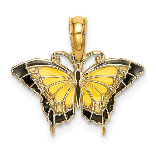 14k Yellow Gold with Enamel Butterfly Small Pendant Charm