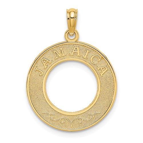 14k Yellow Gold Jamaica Island Round Circle Frame Travel Pendant Charm