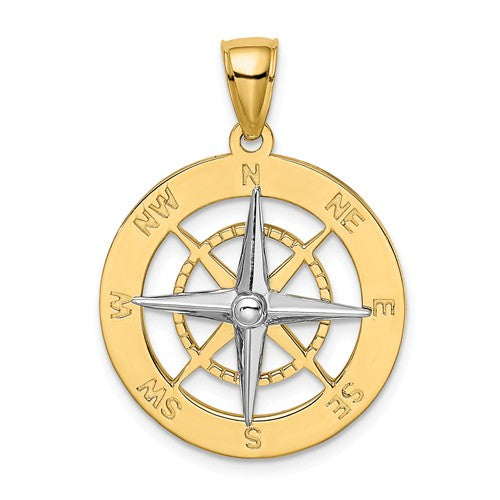 14k Gold Two Tone Nautical Compass Medallion Pendant Charm