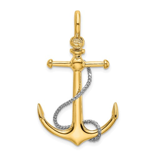 14k Yellow 14k White Gold Anchor Rope T Bar Shackle Bail 3D Pendant Charm