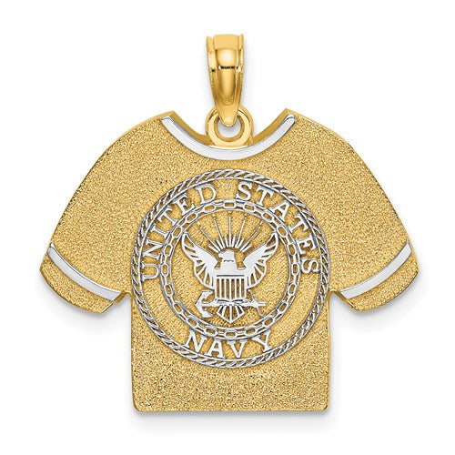 14K Yellow Gold Rhodium United States US Navy USN T Shirt Pendant Charm