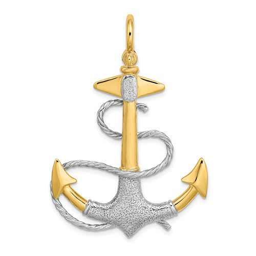14k Yellow 14k White Gold Two Tone Anchor Rope 3D Textured Pendant Charm
