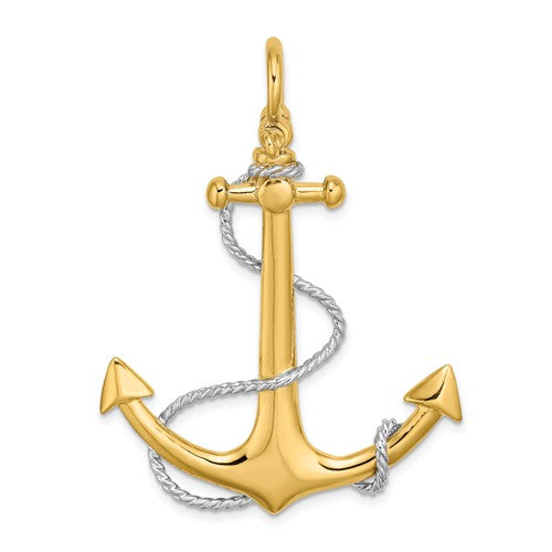 14k Yellow 14k White Gold Two Tone Anchor Rope 3D Large Pendant Charm