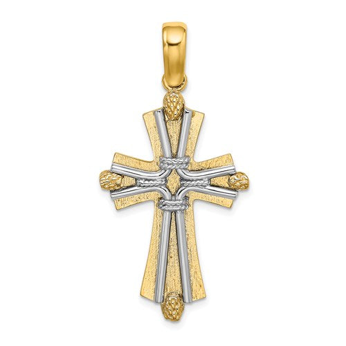 14k Gold Yellow Gold and Rhodium Two Tone Cross Rope Pendant Charm