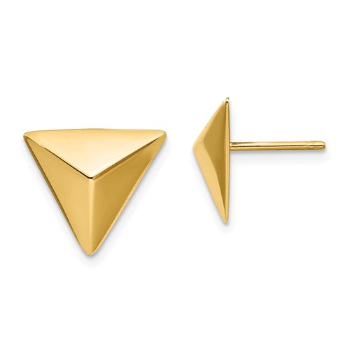 14k Yellow Gold Triangle Geometric Style Stud Post Earrings