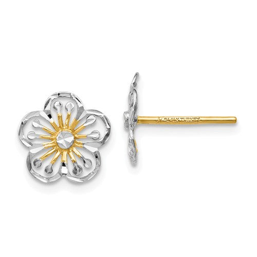 14k Yellow Gold and Rhodium Flower Stud Post Earrings