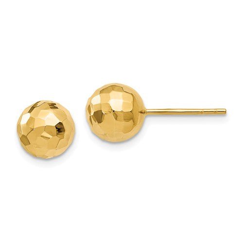 14k Yellow Gold 8mm Diamond Cut Faceted Ball Stud Post Earrings