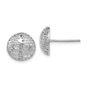 14k White Gold Round Circle Mesh Modern Stud Post Earrings