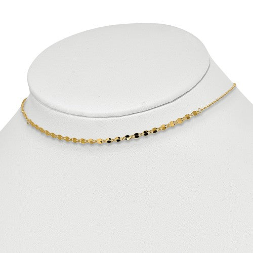 14k Yellow Gold Diamond Cut Adjustable Choker Collar Necklace