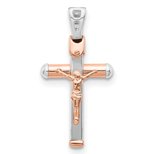 14k White Rose Gold Two Tone Cross Crucifix Hollow Pendant Charm