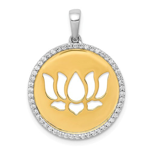 14k Yellow White Gold Two Tone Diamond Lotus Flower Pendant Charm
