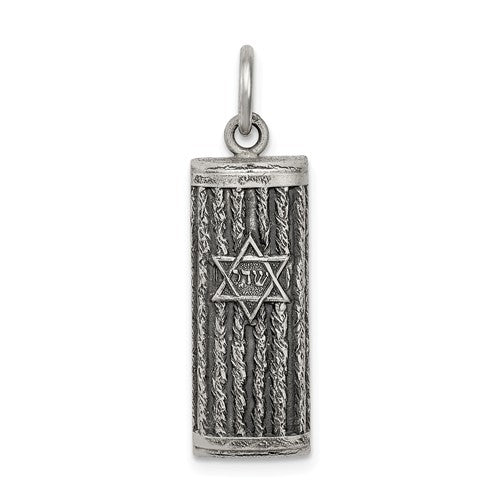 Sterling Silver Mezuzah Antique Finish Pendant Charm