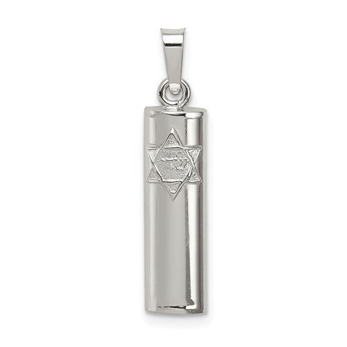 Sterling Silver Mezuzah Star of David 3D Pendant Charm