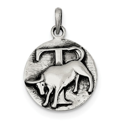 Sterling Silver Zodiac Horoscope Taurus Antique Finish Pendant Charm