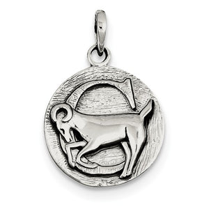 Sterling Silver Zodiac Horoscope Capricorn Antique Finish Pendant Charm