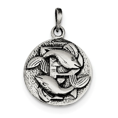 Sterling Silver Zodiac Horoscope Pisces Antique Finish Pendant Charm