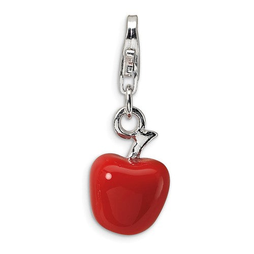 Amore La Vita Sterling Silver Enamel Red Apple 3D Charm