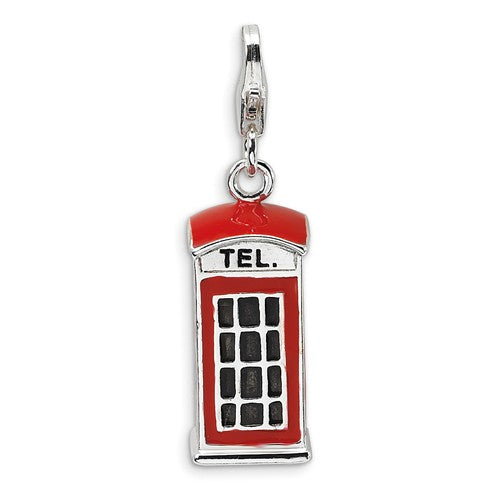 Amore La Vita Sterling Silver Enamel Red Telephone Booth 3D Charm