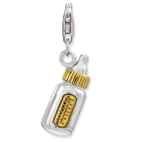 Amore La Vita Sterling Silver Gold Plated Baby Bottle 3D Charm