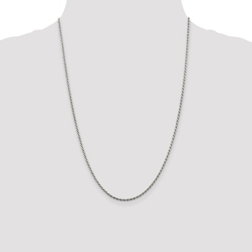 Sterling Silver 1.75mm Rhodium Plated Diamond Cut Rope Necklace Pendant Chain