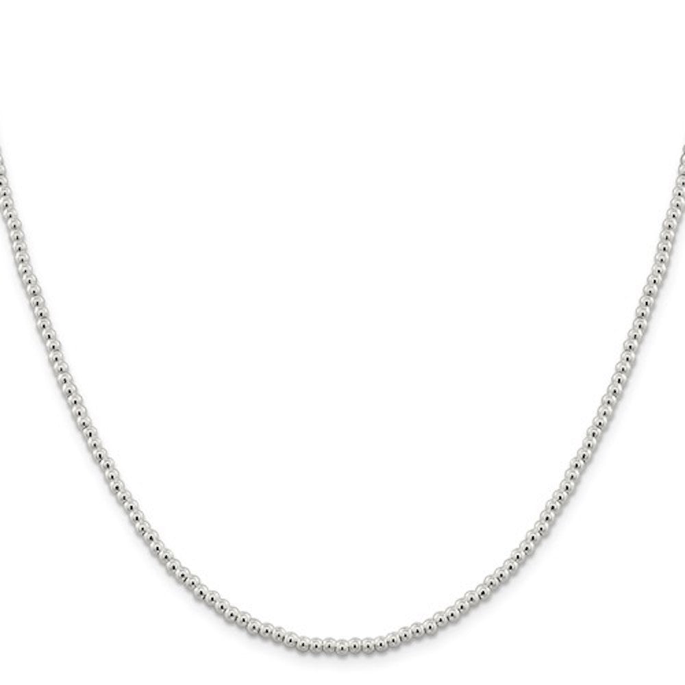 Sterling Silver 3mm Beaded Necklace Pendant Chain