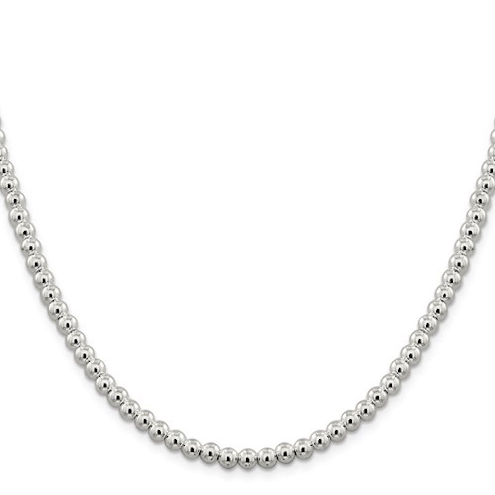 Sterling Silver 5mm Beaded Necklace Pendant Chain