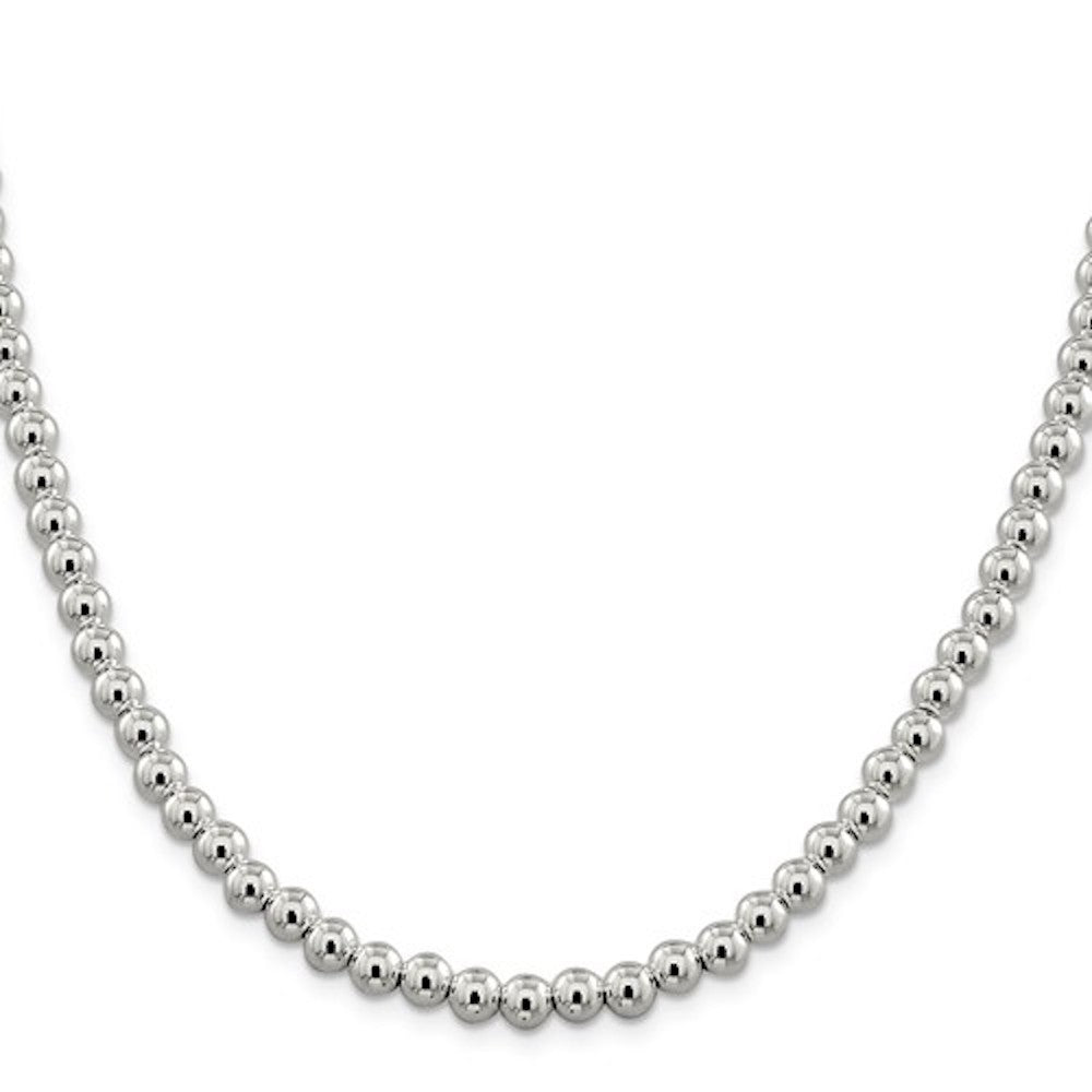 Sterling Silver 6.1mm Beaded Necklace Pendant Chain