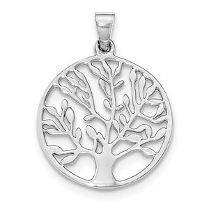 Sterling Silver Tree of Life Round Pendant Charm