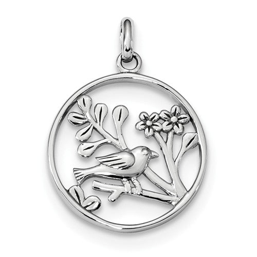 Sterling Silver Bird and Flowers Round Pendant Charm