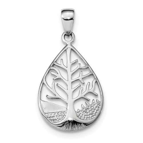 Sterling Silver Tree of Life Teardrop Pendant Charm