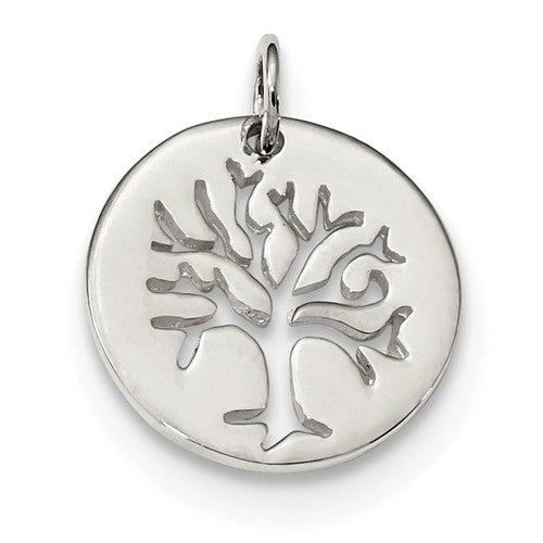 Sterling Silver Tree of Life Round Cut Out Pendant Charm