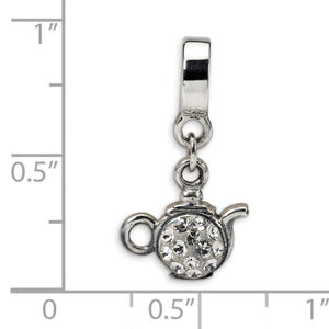 Authentic Reflections Sterling Silver Teapot Clear Swarovski Bead Charm